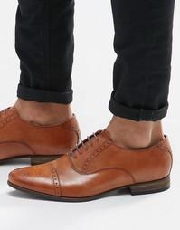 Светло-коричневые кожаные броги с цветной подошвой ASOS - Рыжий