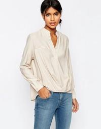 Повседневная блузка из льняной смеси ASOS - Stone