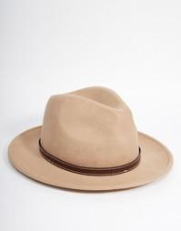 Фетровая шляпа с лентой из искусственной кожи ASOS - Stone