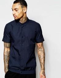 Темно-синяя рубашка с короткими рукавами и эластичным краем ASOS
