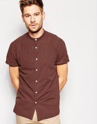 Коричневая классическая рубашка с короткими рукавами ASOS Laundered