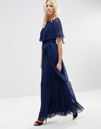 Плиссированное платье макси с накидкой рюшами ASOS - Темно-синий