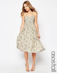 Свадебное платье миди с рюшами и принтом ASOS TALL - Мульти