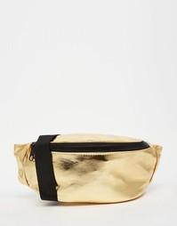 Сумка-кошелек на пояс с отделкой металлик ASOS - Золотой