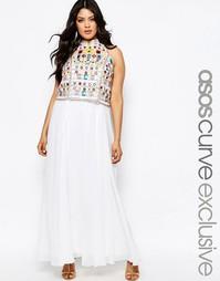 Платье макси с отделкой на укороченном топе ASOS CURVE - Мульти