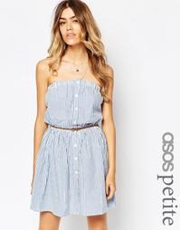 Пляжное платье из жатого ситца на пуговицах ASOS PETITE - Мульти