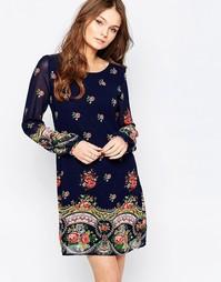 Цельнокройное платье с длинными рукавами Yumi - Темно-синий