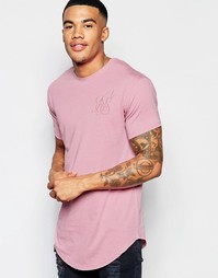 Длинная футболка с выжженным принтом и закругленным подолом SikSilk