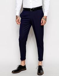 Темно-синие укороченные строгие брюки скинни ASOS - Темно-синий
