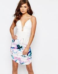 Платье-футляр в стиле колор блок с цветочным принтом Ginger Fizz