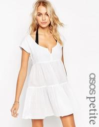 Свободное многоярусное пляжное платье ASOS PETITE - Черный