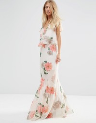 Комбинируемая юбка макси с цветочным принтом и годе ASOS - Мульти