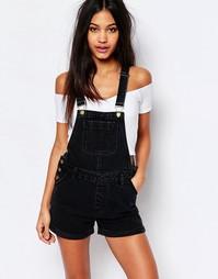 Короткий джинсовый комбинезон Boohoo - Черный