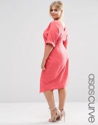 Однотонное платье ASOS CURVE - Spiced coral