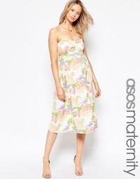 Платье миди с лифом бандо и цветочным принтом ASOS Maternity - Мульти