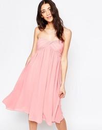 Платье-бандо миди Glamorous - Пыльно-розовый