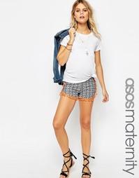 Черно-белые шорты для беременных с принтом и отделкой помпонами ASOS M
