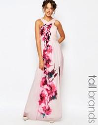 Платье макси с перекрестным передом, цветочным принтом и поясом Little