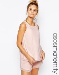 Пижамная майка и шорты с кружевной отделкой для беременных ASOS Matern
