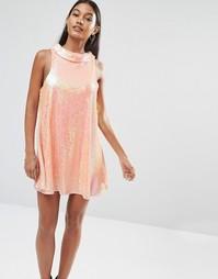 Платье мини с пайетками Boohoo Boutique - Розовый