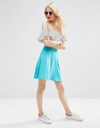 Короткая расклешенная юбка с карманами ASOS - Яркий сине-зеленый