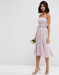 Структурированное платье миди с бантиком ASOS WEDDING - Пыльно-лиловый