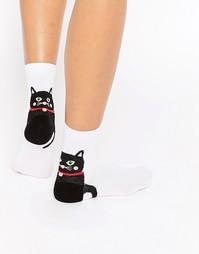 Носки с рисунком кота на пятке ASOS - Белый