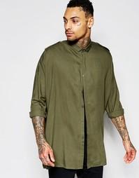 Рубашка цвета хаки в стиле милитари с заниженным плечевым швом ASOS