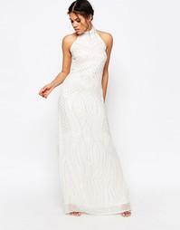 Платье макси с лямкой через шею и отделкой бисером Glamorous