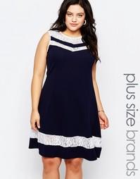 Короткое приталенное платье с кружевными вставками Praslin Plus