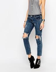 Облегающие джинсы с дырками на коленях Glamorous - Mid blue stone