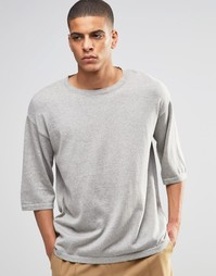 Серая меланжевая футболка прямого кроя ASOS - Серый меланж