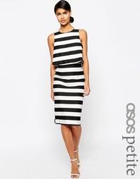 Структурированное двухслойное платье‑футляр в полоску ASOS PETITE