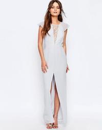 Платье макси с кружевной вставкой и оборками на рукавах Elise Ryan