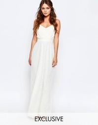 Платье макси с кружевной отделкой юбки Elise Ryan - Кремовый