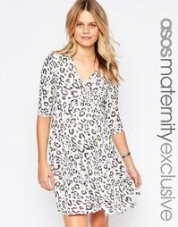 Короткое приталенное платье для беременных с леопардовым принтом ASOS