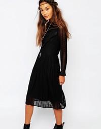 Кружевное платье с присборенной юбкой Navy London - Черный