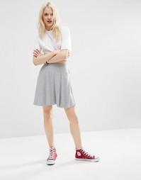 Короткая расклешенная юбка с карманами ASOS - Серый меланж