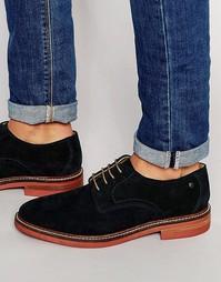 Замшевые туфли с перфорацией Base London Stanford - Темно-синий