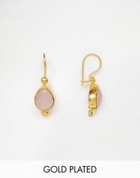 Серьги с розовым кварцем Ottoman Hands - Золотой