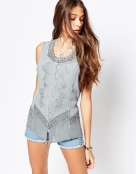 Джинсовая рубашка без рукавов с вышивкой Brave Soul - Античный голубой