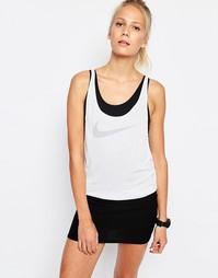 Двухслойная майка с логотипом-галочкой Nike Premium - Белый