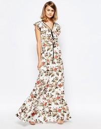 Платье с рюшами, шнурком и цветочным принтом Lost Ink - Мульти