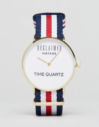 Часы с парусиновым ремешком в полоску Reclaimed Vintage - Красный