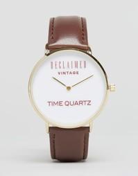 Часы с логотипом и кожаным коричневым ремешком Reclaimed Vintage