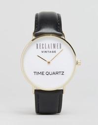 Часы с черным кожаным ремешком и логотипом Reclaimed Vintage - Черный