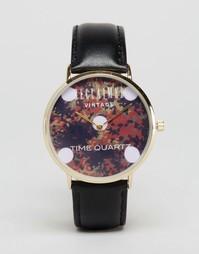 Часы с кожаным ремешком и камуфляжным принтом Reclaimed Vintage