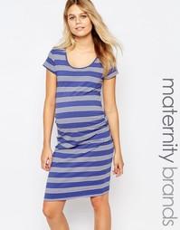 Облегающее платье‑футболка в полоску Mamalicious - Синий Mama.Licious