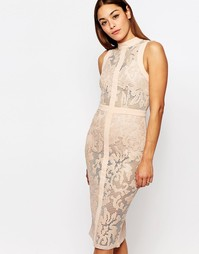 Кружевное платье‑футляр с отделкой из искусственной кожи Missguided