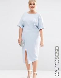 Однотонное платье ASOS CURVE - Синий